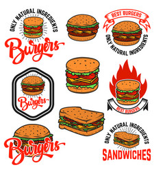 set of burgers and sandwiches emblems isolated on vector image vector image