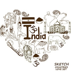Indian symbols in heart shape concept vector image vector image
