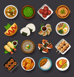japanese food icon set vector image vector image