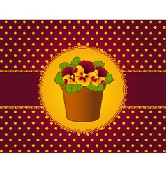 Pansy in pot with lace ornaments vector image