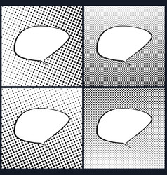 Set of retro style speech bubble pop art vector