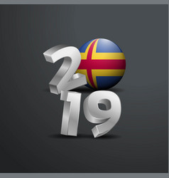 2019 grey typography with aland flag happy new vector