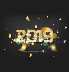 2019 new year golden banner vector image