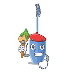 Artist long mascara brush the in mascot vector