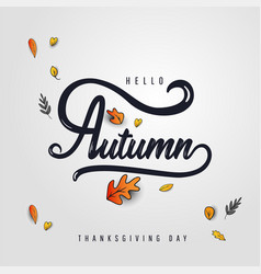 autumn sale template with lettering and falling vector image