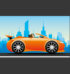 beautiful woman in a red car vector image