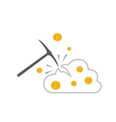 Bitcoin mining concept with pickaxe vector