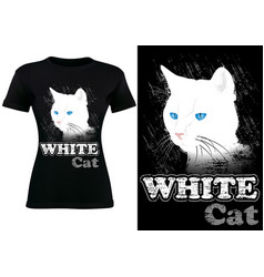 Black t-shirt design with white cat vector