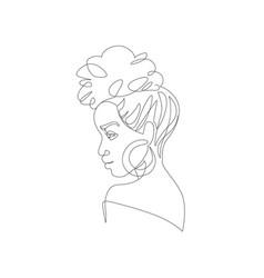 black woman afro portrait female profile vector image