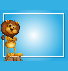 Blue background template with lion on log vector
