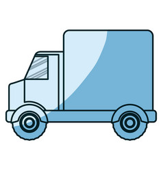Blue shading silhouette of truck with wagon vector