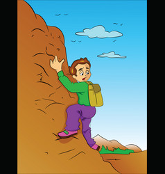 boy climbing a mountain vector image