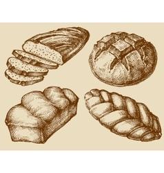 Bread set hand drawn vector