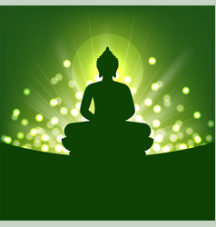 buddha silhouette and abstract light for buddhism vector image