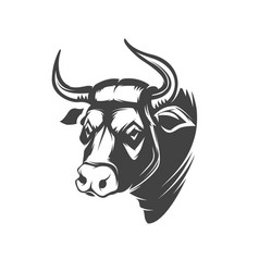 Bull head emblem isolated on white background vector