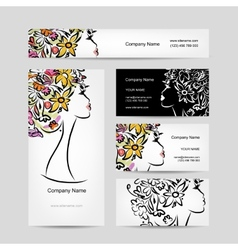 Business cards design with female floral head vector image
