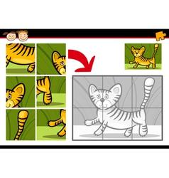 Cartoon tiger jigsaw puzzle game vector