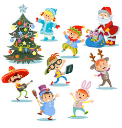christmas carnival party cartoon children vector image