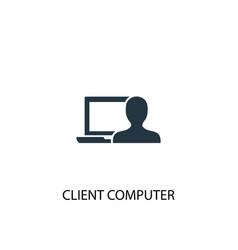 client computer icon simple element vector image