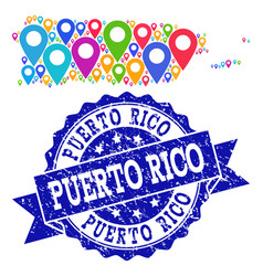 collage map of puerto rico with map pointers and vector image