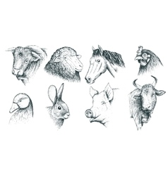 Collection of farm animals Handcrafted vector image
