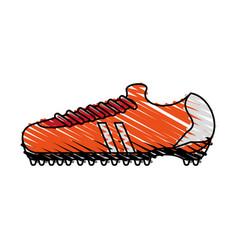 color crayon stripe cartoon orange soccer shoes vector image
