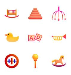 Colorful batoy icon set cartoon style vector