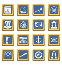 Columbus day icons set blue vector