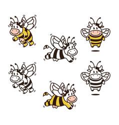 cow bee cartoon mascot set bundle character vector image