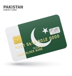 Credit card with Pakistan flag background for bank vector