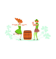 cute cartoon leprechauns dancing vector image