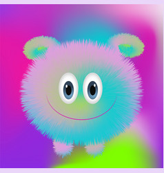 cute fluffy monster on bright background in trends vector image