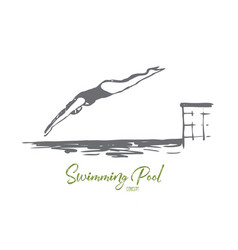 diving water pool jump swim concept vector image