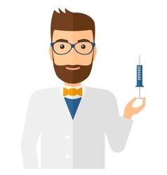 Doctor holding syringe vector