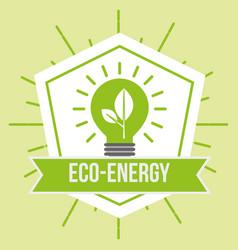 eco energy green bulb light plant emblem vector image