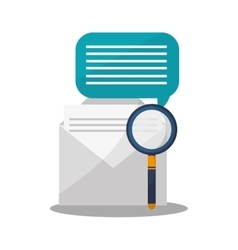 Envelope and magnifying glass icon vector