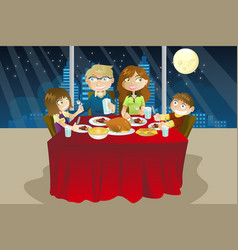 Family eating dinner vector