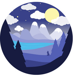 flat round landscapenight sky blue river fox vector image