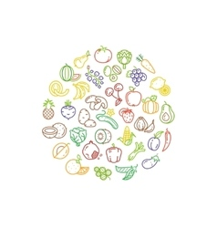Fruit and vegetable logo with line icons vector