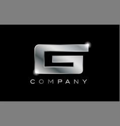 G silver metal letter company design logo vector