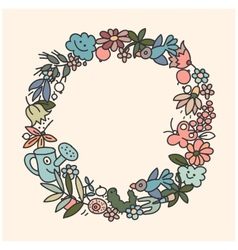 Garden doodls frame vector image