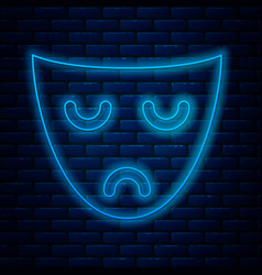 Glowing neon line drama theatrical mask icon vector