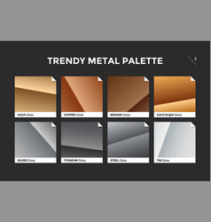 Gold copper bronze and silver gradient template vector