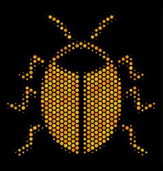 Hexagon halftone bug icon vector