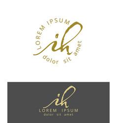 I h initials monogram logo design dry brush vector