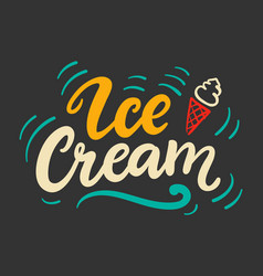 Ice cream logo badge with calligraphy vector