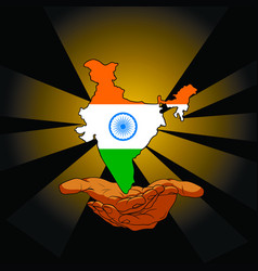 Indian land above the hands on black background vector