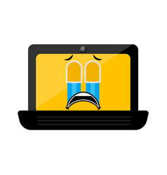 isolated crying laptop emote vector image