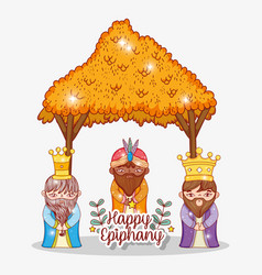 Kings wearing crown in the manger with branches vector
