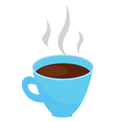 light blue coffee cup with steaming coffee on vector image